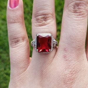Zirconia ruby sterling silver women's fashion ring